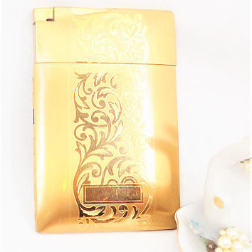 Elgin Cigarette Case, Etched Gold Tone Holder, Lighter, 1950s Patent on Lighter