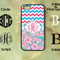 Monogram Pink and Blue Flowes and Chevron iPhone 5, 5s, 5c, 4s, 4 case, Ipod touch 5, Samsung GS3, GS4 case-Silicone Rubber or Hard Plas