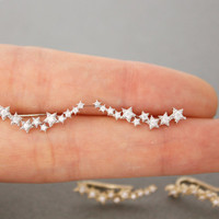 Milky way earrings,stars cubic ear pin,Earcuff,Ear Crawler,Climber,Ear cuff style Stud Earrings in 2 colors, E0566S