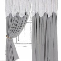 Pheasant Eye Curtain by Anthropologie Light Grey 63 Inches Curtains