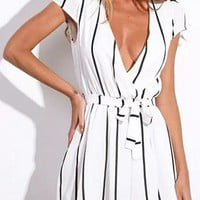 Short Sleeved Romper - V Neck / Pin Stripes