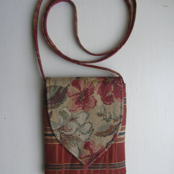 Small Cross Body Bag - Floral Tapestry with Plaid