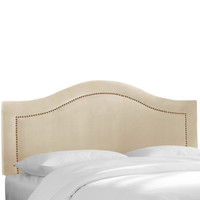 House of Hampton Velvet Inset Nail Button Headboard