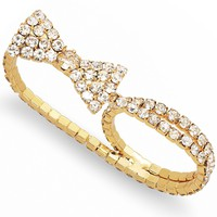 Bar III Ring, Gold-Tone Crystal Stone Two-Finger Ring