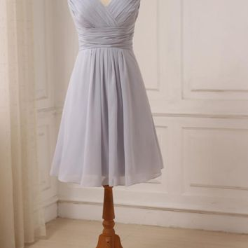 Sexy Short Bridesmaid Dresses Knee Length Cap Sleeve Chiffon Bridesmaid Gowns For Wedding Party Lace Up Back