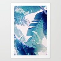 Banana Leaf Blue Art Print by The Dreamery