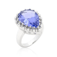 Solitaire Light Purple Cocktail Ring, size : 08