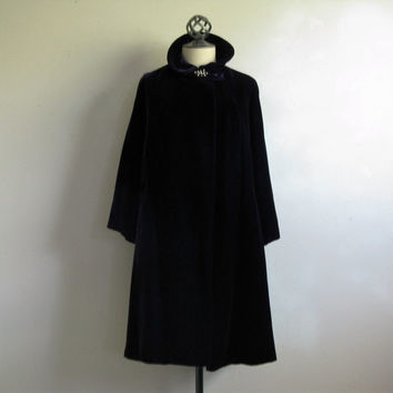 Royal Purple Velvet Swing Coat 60s Vintage Purple Evening Coat Small-Medium