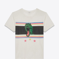 SAINT LAURENT SHORT SLEEVE T REX T SHIRT IN IVORY AND MULTICOLOR PRINTED COTTON JERSEY | YSL.COM