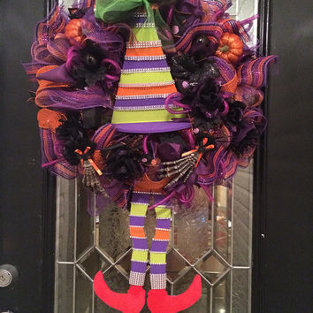 Wicked Witch Halloween Wreath, Halloween Wreath, Fall Wreath, Halloween Decoration