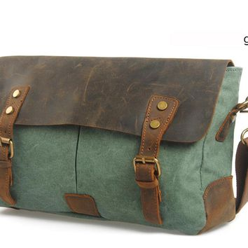 Military Canvas Leather shoulder bags