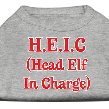Miragepet Products Puppy Dog Cat Apparel Head Elf In Charge Screen Print Shirt Grey Large(14)