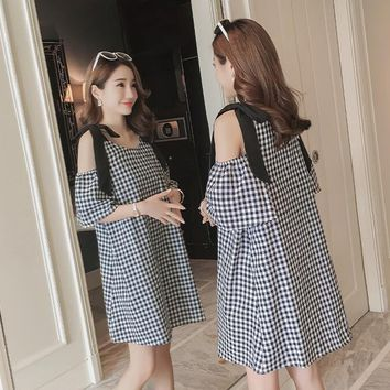 Summer Maternity Dresses Bow Sleeve Nursing Dress Clothes for Pregnant Women Feeding Daily  Wearing Striped Pregnancy Clothing