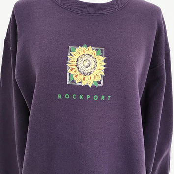 90s SUNFLOWER sweatshirt / Rockport / plum purple eggplant / grunge slouchy / size medium large