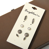 Fashion accessories stud earring pack set 4 pairs round eyes silver leaves hollow earrings gift for women brincos