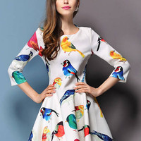 White Birds Print Half Sleeve Skater Mini Dress