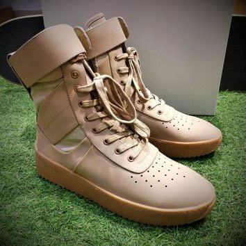 Best Online Sale Fear Of God FOG Justin Bieber Military High-Top Wheat Luxury Shoes