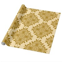 Golden Brown Damask Pattern Wrapping Paper