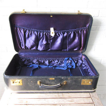 Vintage Blue and Purple Suitcase - Silk Violet Interior Hard Sided Luggage - Mad Men - Hard Side Lavender Dove Gray - Display Prop