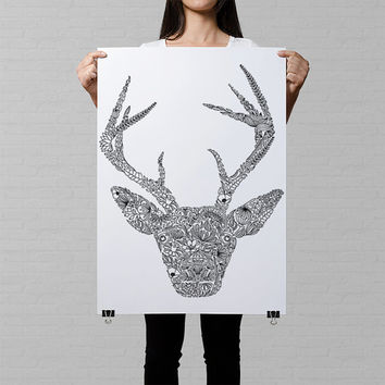 giant colouring page, adult coloring books, deer illustration, kids poster, deer head print, cool poster, art therapy, big colouring page