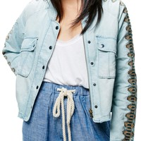 Free People | Embroidered Linen Blend Jacket | Nordstrom Rack