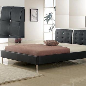 Best Master 120518BLK-Q Viola black and white leather like vinyl tufted queen bed frame set with crystal button tufting