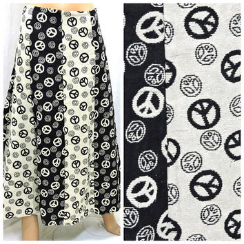 Festival skirt / size 8 / 9 / 90s  does 70s boho maxi skirt /  hippie woven cotton long skirt / retro 70s style skirt