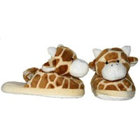 Plush Giraffe Print Baby Booties (6 Month)