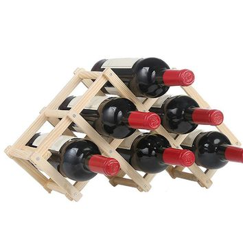 Wooden Folding Wine Bottle Holders Rack Bar Display Shelf Organizer