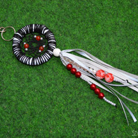 Black Purse Charm Reflective With Carnelian Gemstone, Dream Catcher Handbag Charm, KeyChain