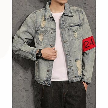 Privathinker Men's Stonewashed Patched Vintage Slim Ripped Denim Jacket