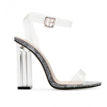 Strappy Lucite Clear Heels Glitter