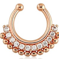 IP Rose Gold With Clear Gem Tribal Fan Fake Septum Ring Hanger