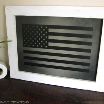 American Flag Sign Patriotic Rustic Wood American Flag Sign White Frame Country Decor