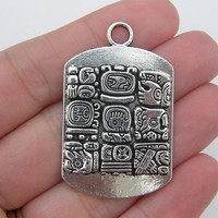 2 Mayan glyph pendants 44 x 28mm antique silver tone MG1