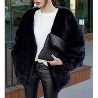 Fashionable Solid Color Faux Fur Batwing Sleeve Long Sleeve Coat For Women