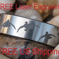 Tungsten Carbide Band 8mm Pipe Satin Finish Duck Design Ring- Free Inside Engraving