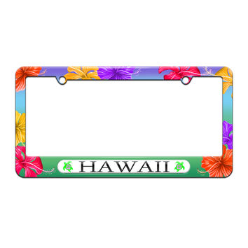 Hawaii Love - Turtle - Hibiscus - License Plate Tag Frame - Tropical Hibiscus Flowers Design