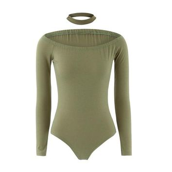 Chocker Sexy One Piece Outfits Off Shoulder Long Sleeve Women Spring Sexy Bodysuit Slim Bodycon Sexy Club Jumpsuits#212