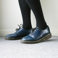 Dr Martens Shoes Creepers Navy Blue Doc Martens Made in England 3 Hole Eyelet Grunge Punk Skinhead Indie Classic Women's Size US 6.5, UK 4