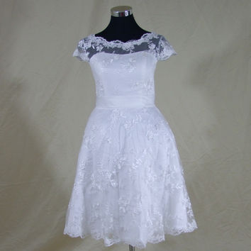 See through Vintage Inspired Custom Made Plus Size Scoop Tea Length Lace Short Wedding Dresses Garden Bridal Gown