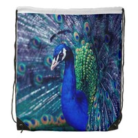 Blue Peacock Drawstring Backpack