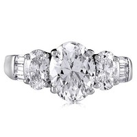 Sterling Silver 925 Oval Cubic Zirconia CZ 3 Stone Ring #r028