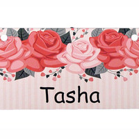 Vintage Roses Design Crate Tag Personalized with Your Dog's Name - Free Shipping