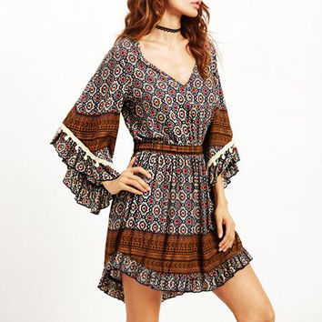 Bohemian  Autumn Women Vintage Print Mini Dress Ladies Sexy V Neck Long Sleeve High Wasit Tassel Asymmetrical Dress Vestidos