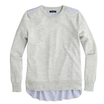 J.Crew Womens Mixed-Media Sweater In Heather Dusk