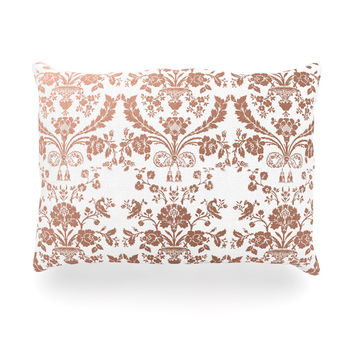 "KESS Original ""Baroque Rose Gold"" Abstract Floral Oblong Pillow"