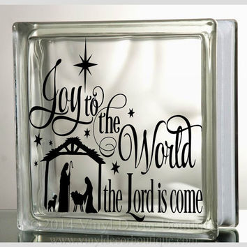 Joy to the world Glass Block Decal Tile Mirrors DIY Decal for Christmas Glass Blocks Joy to the world