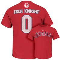 Majestic Los Angeles Angels of Anaheim Star Wars Jedi Knight Name and Number Tee
