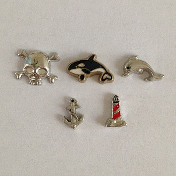 Floating charms for living lockets ocean - pirate skull, gold whale, silver dolphin, silver anchor, lighthouse